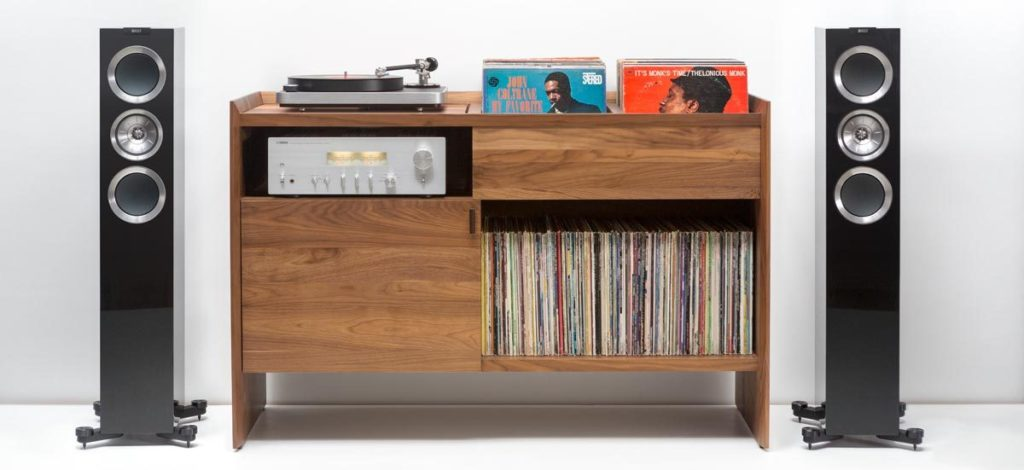 Unison By Symbol Audio Record Player Stand Cabinet Console